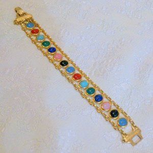 Vtg Carved Multi Color Scarab Double Link Bracelet